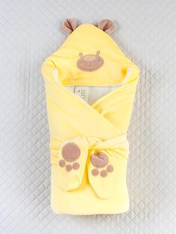 Зимний велюровый конверт одеяло на выписку Панда (желтый)