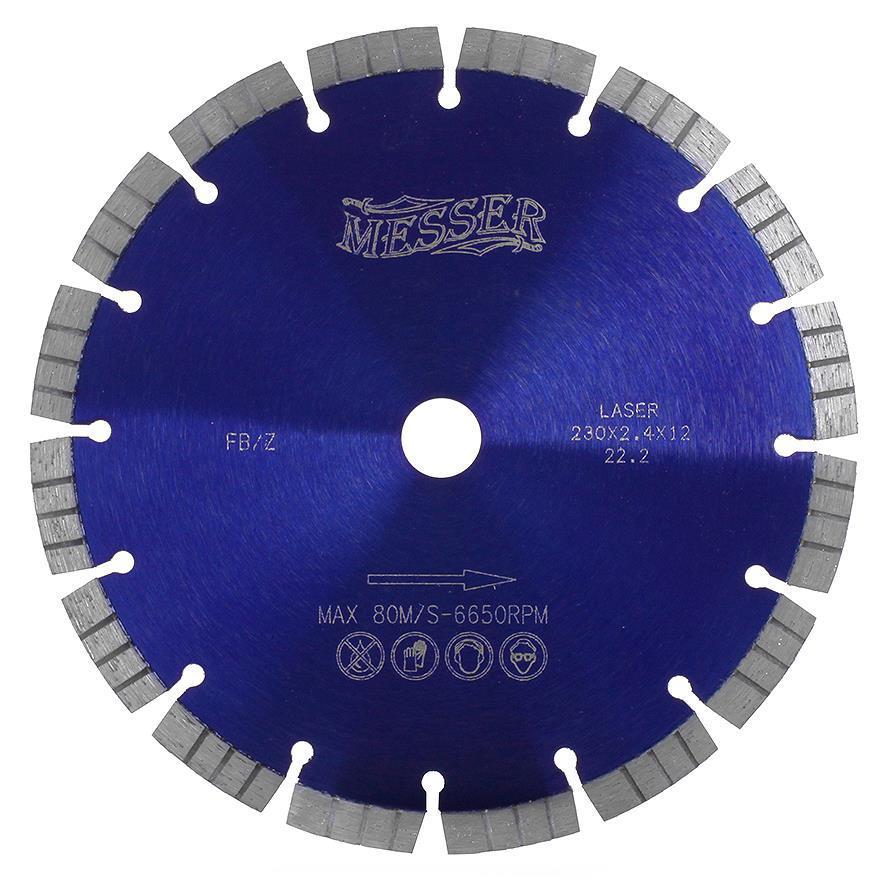 Диск алмазный турбосегментный MESSER FB/Z по железобетону, с возможностью сухой резки  230D-2.4T-12W-16S-22.2