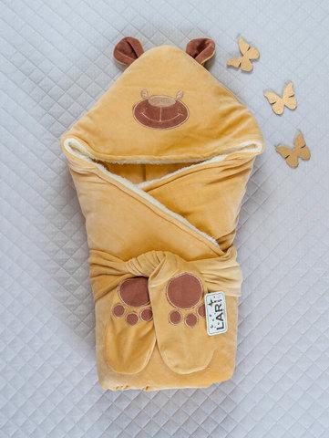 Зимний конверт одеяло на выписку Панда  ( капучино)