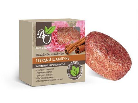 Натуральный твердый шампунь «Гвоздика и корица», Bliss organic 65 гр