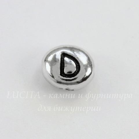 "Бусина овальная TierraCast ""Буква D"" 7х6х3 мм (цвет-античное серебро)"