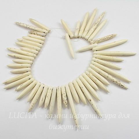 Бусина Говлит (искусств, тониров), продолговатая, цвет - молочный, 20-47 мм, нить