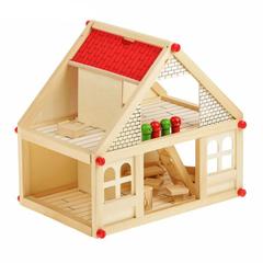 Игрушечный деревянный дом с мебелью и 4 человечками, 39 элементов