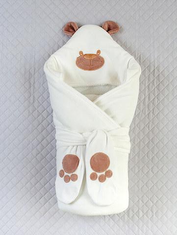 Зимний велюровый конверт одеяло  Панда (кремовый)