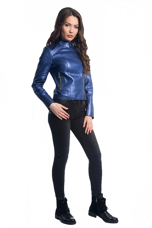 Куртка-косуха из натуральной кожи синий электрик