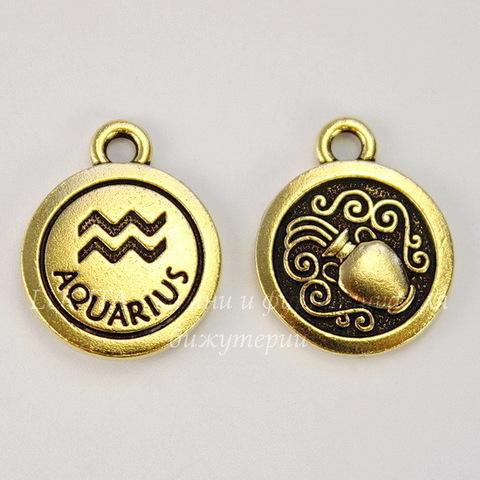 """Подвеска TierraCast знак зодиака """"Водолей"""" (цвет-античное золото) 19х15 мм"""