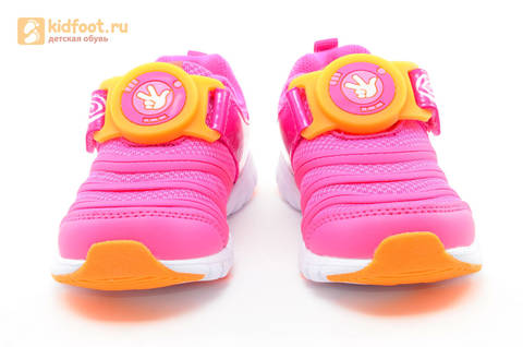 Светящиеся кроссовки для девочек Фиксики на липучках, цвет фуксия, мигает пряжка на липучке. Изображение 5 из 16.