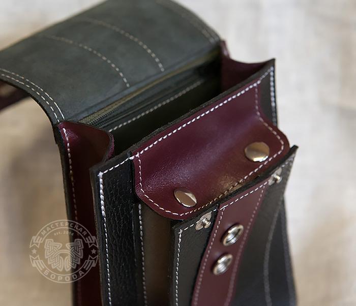 BAG379-3 Мужская сумка на пояс из натуральной кожи, ручная работа фото 03