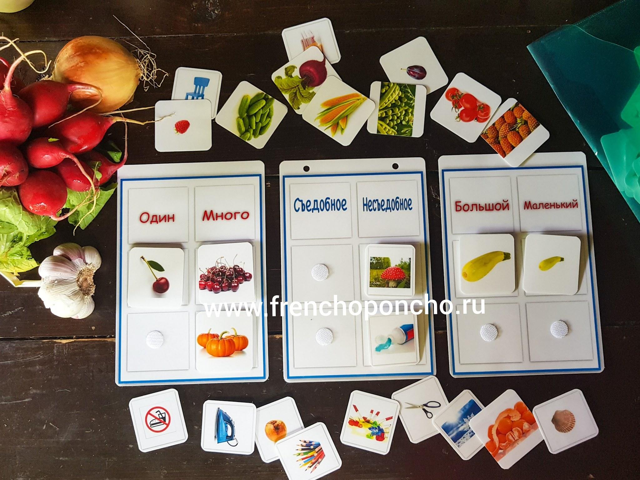 Фрукты и овощи: съедобное-несъедобное, один-много, большой-маленький. Развивающие пособия на липучках Frenchoponcho (Френчопончо)