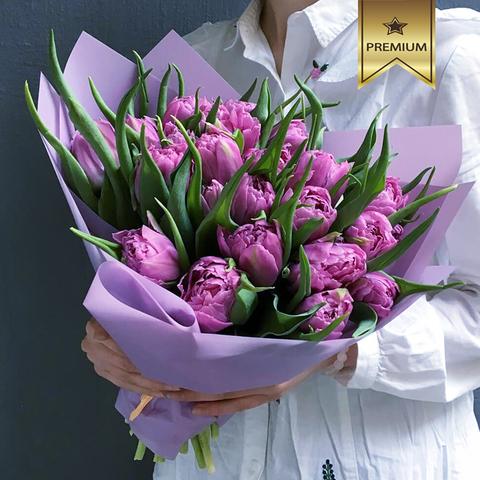 Букет из лавандовых пионовидных тюльпанов