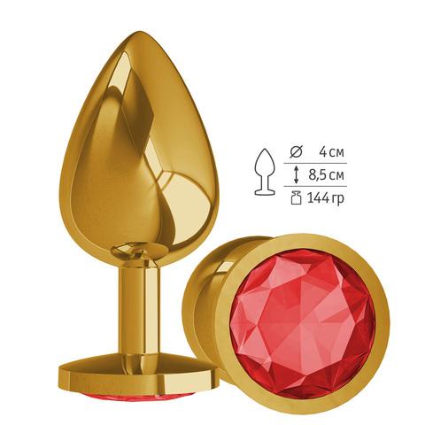 Gold Анальная втулка с КРАСНЫМ кристаллом большая