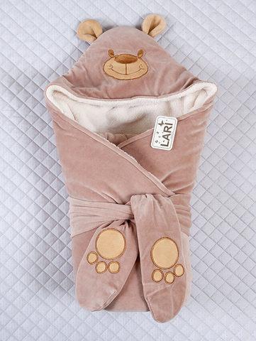 Зимний велюровый конверт одеяло на выписку Панда (молочный шоколад)