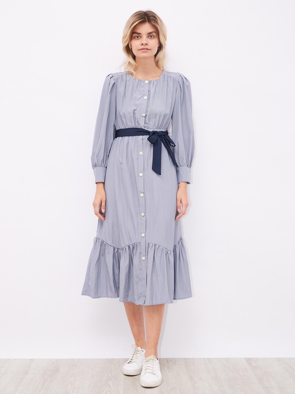 Платье на резинке с контрастным поясом