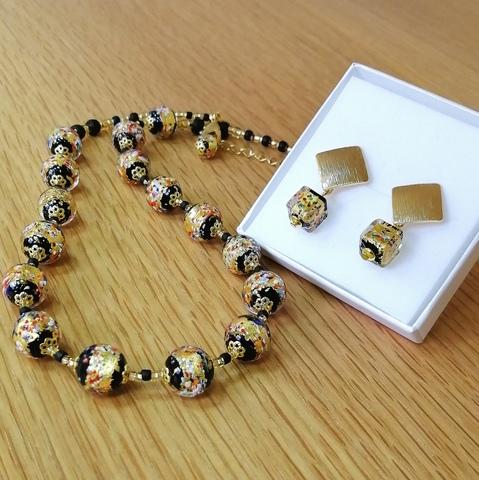 Комплект Арлекино Rombo Gold (серьги, ожерелье)