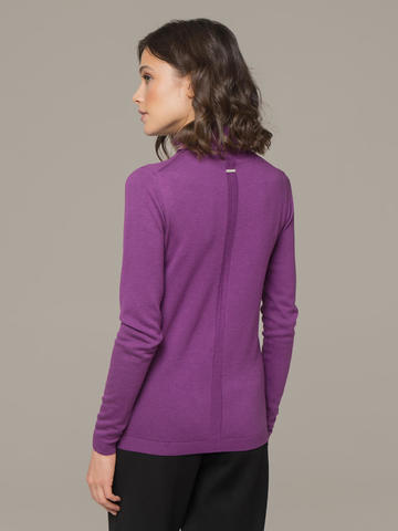 Женский джемпер лилового цвета из шерсти и шелка - фото 3