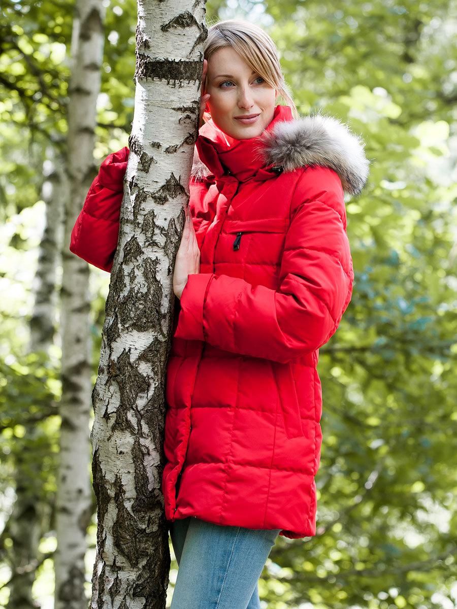 Joutsen пуховик Pipsa с мехом красный - Фото 1
