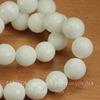 Бусина Жадеит, шарик с огранкой, цвет - белый, 12 мм, нить