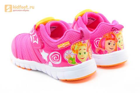 Светящиеся кроссовки для девочек Фиксики на липучках, цвет фуксия, мигает пряжка на липучке. Изображение 7 из 16.