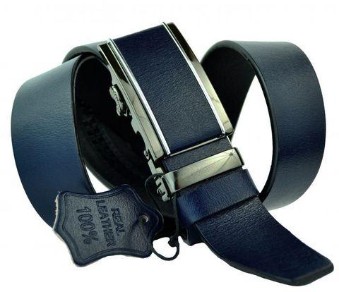 Ремень мужской брючный тёмно-синий из качественной кожи  35 мм с автоматической кожаной пряжкой 35Millenium-A-093