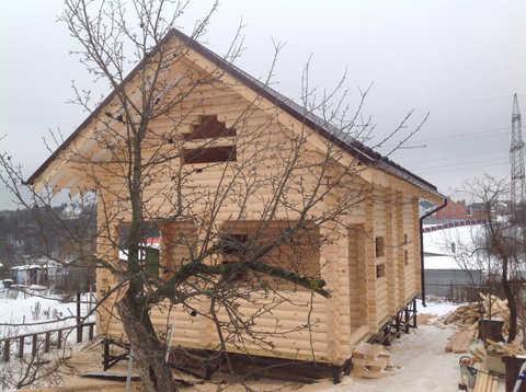 Дачные дома с мансардой из бревна по проекту #395