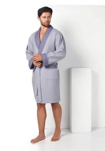 Вафельный мужской халат из бамбука  15125-1 NUSA Турция