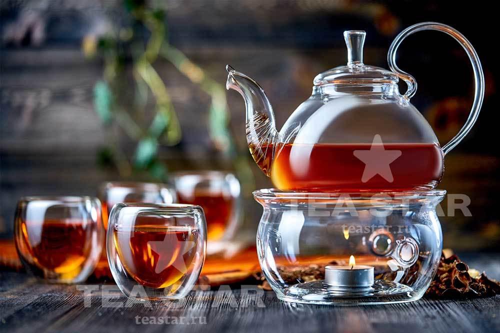 Наборы-Акции Стеклянный заварочный чайник Георгин 800 мл с подогревом от свечи Zavarochniy_chainik_Georgin_800_TeaStar.jpg