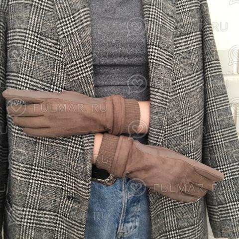 Женские перчатки Touch для сенсорных экранов на указательном пальце Коричневые Классика