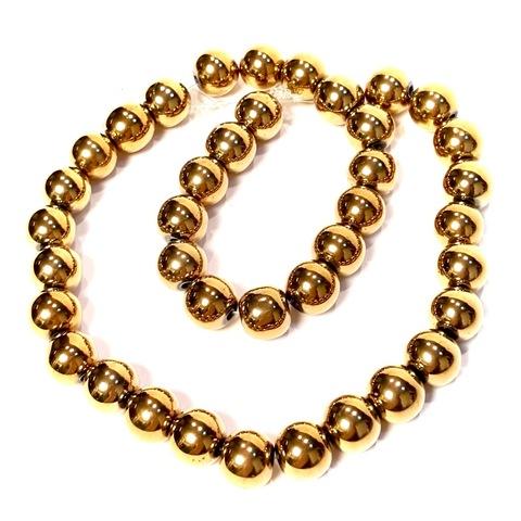 Бусины гематит шар гладкий 10 мм темное золото