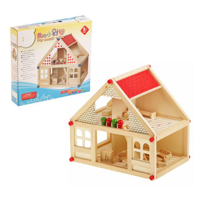 купить деревянный игрушечный домик для кукол с мебелью