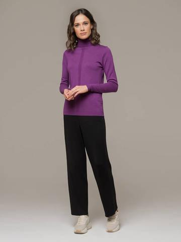 Женский джемпер лилового цвета из шерсти и шелка - фото 4