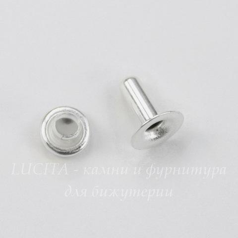 Заклепка из 2х частей TierraCast 7,6х2,5 мм, 6х4 мм (цвет-серебро)