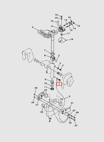 Штуцер M6 кронштейна лодочного мотора T15, OTH 9,9 SEA-PRO (14-1)