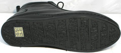 Высокие черные кеды с черной подошвой женские Evromoda 375-1019 SA Black