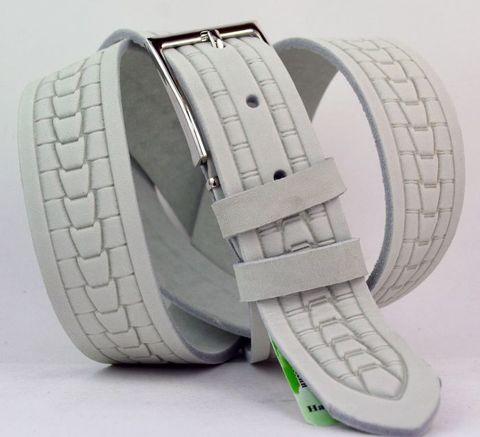 Ремень мужской белый брючный кожаный с тиснением российского производства 35 мм 35Corona-034