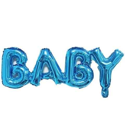 Шар надпись Baby, синий, 81 см