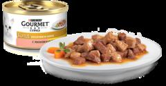 Gourmet Gold Кусочки в соусе с лососем и цыпленком 85 г