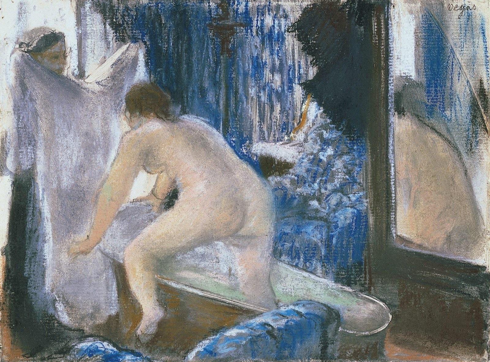 Эдгар Дега. 1877 (ок). Женщина, выходящая из ванны (Woman Getting Out of the Bath). 15.9 x 21.6. Бумага, пастель по монотипии. Пасадена, музей Нортона Саймона.