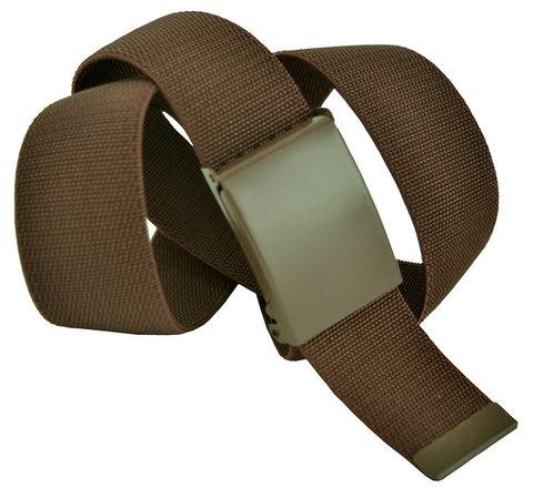 Ремень текстильный эластичный джинсовый коричневый 4 см 40Rezinka-009