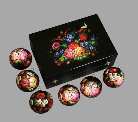 Набор из 6 елочных шаров в шкатулке SET04D-667785785