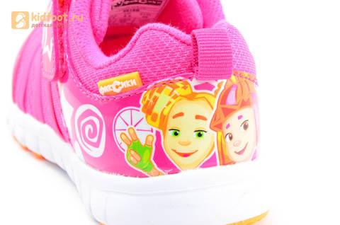 Светящиеся кроссовки для девочек Фиксики на липучках, цвет фуксия, мигает пряжка на липучке. Изображение 13 из 16.