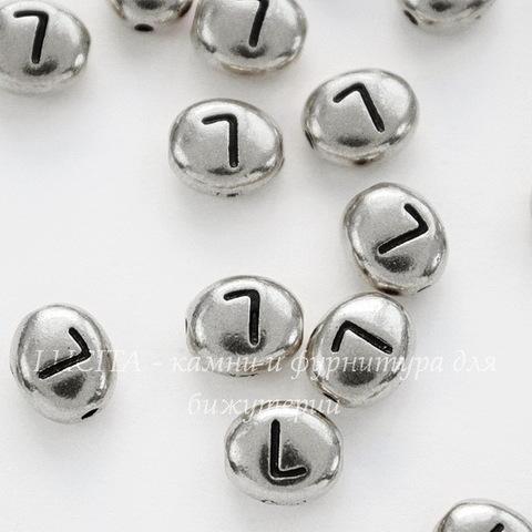 """Бусина овальная TierraCast """"Буква L"""" 7х6х3 мм (цвет-античное серебро)"""