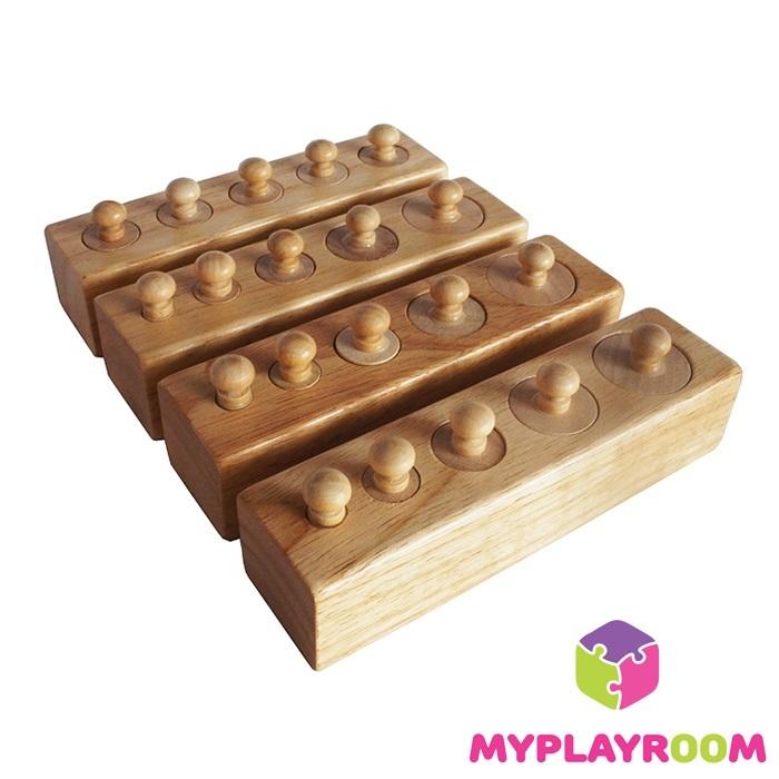 Блоки с цилиндрами Монтессори
