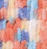 Пряжа Alize Puffy Color коралл-голубой 5866