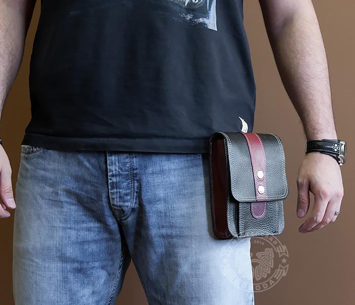 BAG379-3 Мужская сумка на пояс из натуральной кожи, ручная работа фото 04