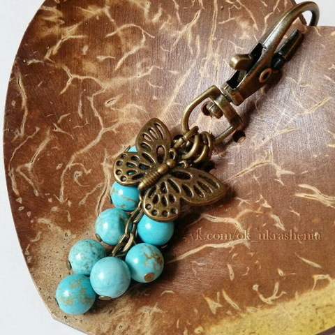 """Подвеска """"Бабочка"""" (цвет - античная бронза) 25х18 мм (Брелок с бусинами. Пример)"""
