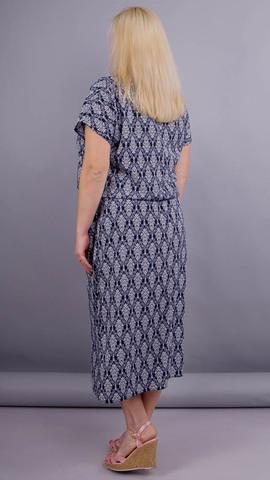Мрия. Легкое платье для женщин плюс сайз. Синий+узор.