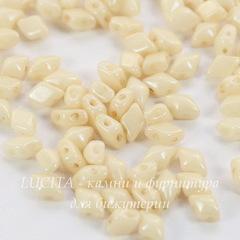 Бусина DiamonDuo mini Ромб с 2 отверстиями, 6х4 мм, светло-бежевая