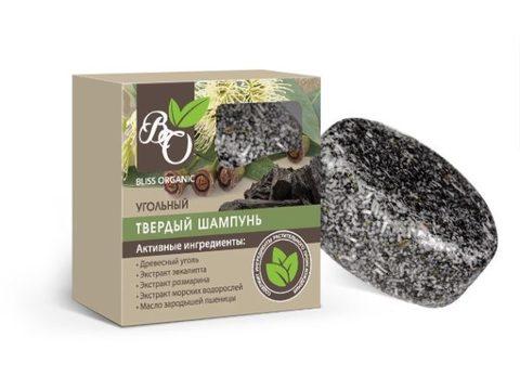 Натуральный твердый шампунь «Угольный», Bliss organic 65 гр
