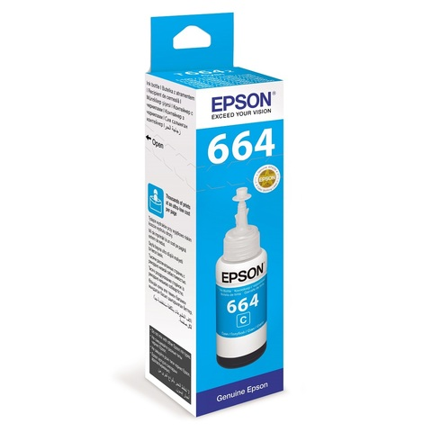 Чернила голубые Epson для L100, L110, L120, L1300, L200, L210, L300, L350, L355, L550, L486 (70 мл) C13T66424A