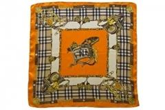Итальянский платок из шелка оранжевый с принтом 0051